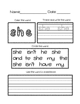 SIPPS Sight Word Practice Lessons 21-25