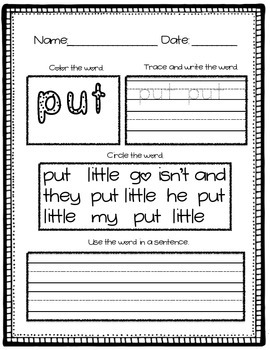 SIPPS Sight Word Practice Lessons 31-35