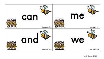 SIPPS Sight Word and Letter Cards:  Beginning Lessons 1-55, BEE THEME