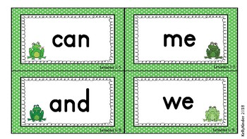 SIPPS Sight Word and Letter Cards:  Beginning Lessons 1-55, FROG THEME