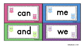SIPPS Sight Word and Letter Cards:  Beginning Lessons 1-55, OWL THEME