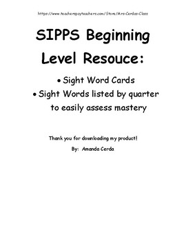 SIPPS Sight Words Beginning Level