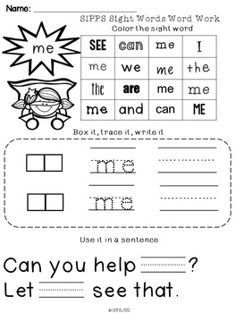 SIPPS Sight Words Word Work: Beginning Lessons 1-10