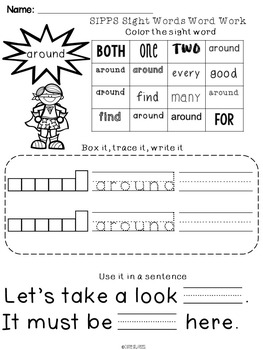 SIPPS Sight Words Word Work: Beginning Lessons 51-55