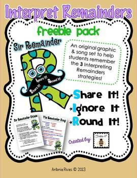 SIR Remainder! {FREE Interpreting Remainders Song & Poster pack}
