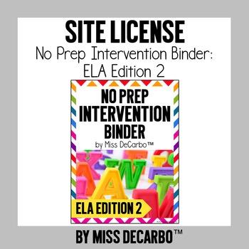 SITE LICENSE No Prep Intervention Binder ELA Edition 2