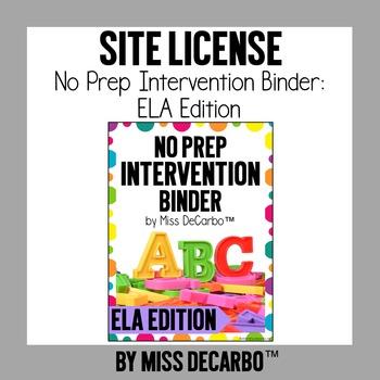 SITE LICENSE No Prep Intervention Binder ELA Edition