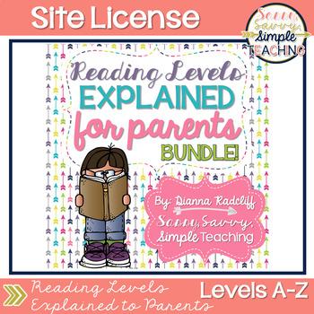 SITE LICENSE Reading Levels Explained for Parents BUNDLE [Levels A-V]