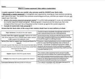 SIX Counter argument / counter claim prompts, task cards, model paragraphs