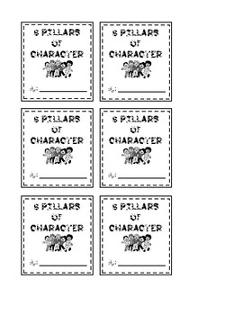 SIX PILLARS OF CHARACTER FLIPBOOK FOR ELEMENTARY STUDENTS