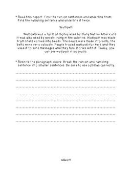 SIX TRAITS OF WRITING ASSESSMENT FOUR (sentence fluency-grade 3)