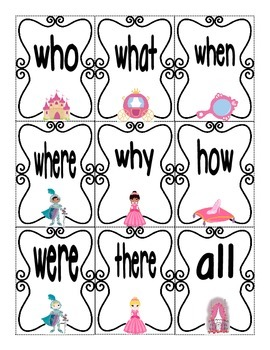 Sight Word Go Fish or Memory Game (Princess Themed)