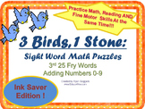Sight Word Math Puzzles -3rd 25 Fry Words + Adding 0-9
