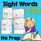 Sight Word Worksheets (No PREP) 1-100