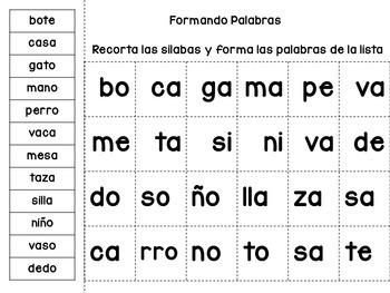 SIlabas - Formando palabras de 2 silabas