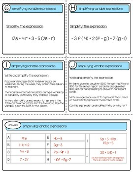 Simplifying Variable Expressions    TASK CARDS