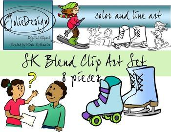 SK Blend Phonics Clip Art Set - Color and Line Art 8 pc set