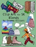 SK Blends Realistic Color and Black Line Phonics Clip Art