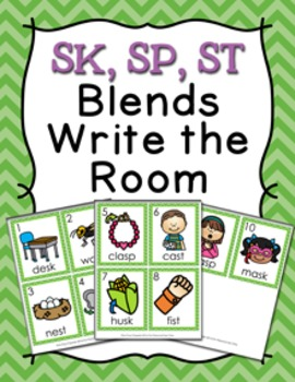 SK SP ST Ending Blends Write the Room Activity