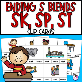 Ending Blends Clip Cards With SK, SP, ST
