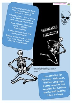 SKELETON SURPRISE - ORIGINAL POEM AND ACTIVITIES HALLOWEEN SCIENCE ENGLISH