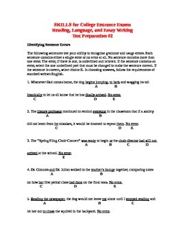 SKILLS for College Entrance Exams Reading, Language, Essay