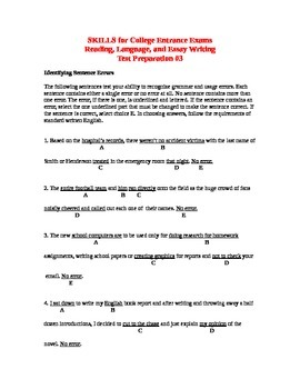 SKILLS for College Entrance Exams Reading, Language, Essay Writing Test Prep #3