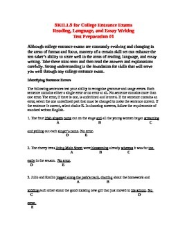 SKILLS for College Entrance Exams Reading, Language, and Essay Test Prep #1