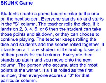 SKUNK Game