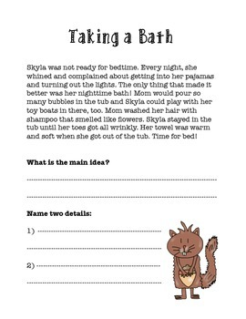 Main Idea Packet with Skyla the Squirrel {UPDATED!}