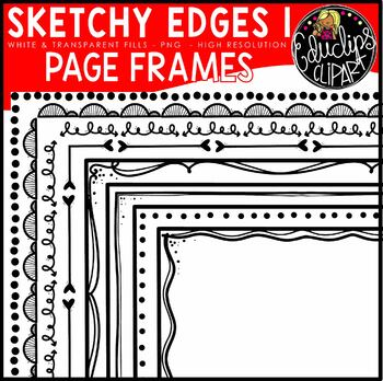 SK-edges 1 Hand Drawn Page Border Clip Art Bundle {Educlips Clipart}