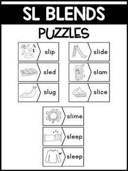 SL Blends Phonics Center:  Picture and Word Match Puzzles