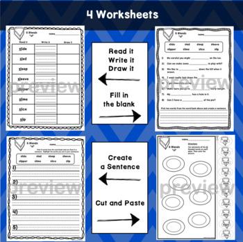 SL Blends Worksheets - Initial Consonant Blends