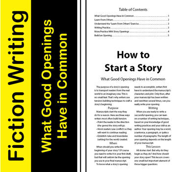 SL How to Start a Story Answer Key