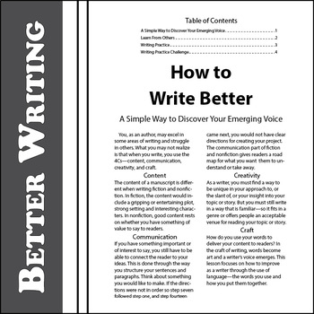SL How to Write Better: A Simple Way to Discover Your Emerging Voice