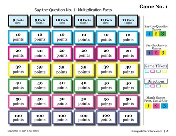 SL Games: Multiplication Facts (9, 10, 11)