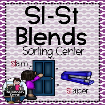 Word Work - S BLENDS - SL-ST Sorting Center {ABC Order, An