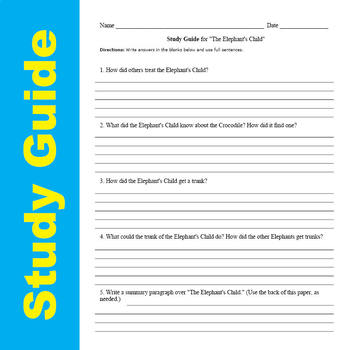 SL - The Elephant's Child - Quick & Easy Short Story Curriculum