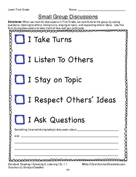SL.1.1 First Grade Common Core Worksheets, Activity, and Poster