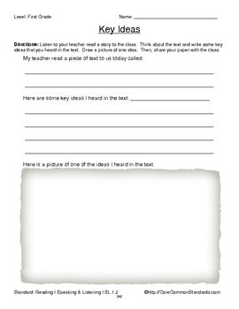 SL.1.2 First Grade Common Core Worksheets, Activity, and Poster