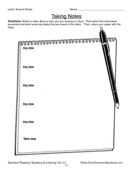 SL.2.2 Second Grade Common Core Worksheets, Activity, and Poster