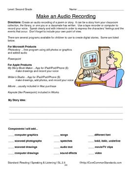 SL.2.5 Second Grade Common Core Worksheets, Activity, and Poster