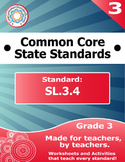 SL.3.4 Third Grade Common Core Bundle - Worksheet, Activity, Poster, Assessment
