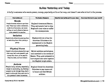 Teach About Bullying Using the American Revolution and Fables -2SL3SL4SL5SL