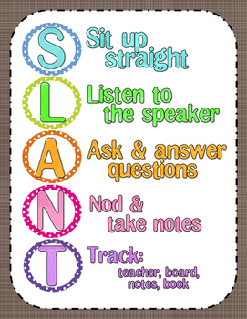 SLANT Classroom Active Participation Poster ~no clipart~