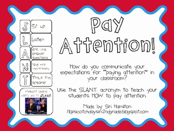 SLANT Poster - How do I teach students how to pay attention?