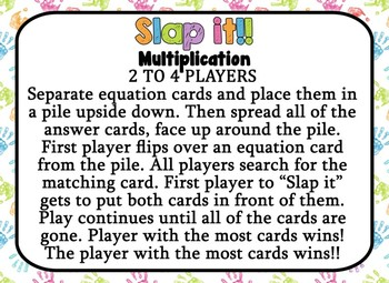 SLAP IT!! Single Digit Multiplication math game