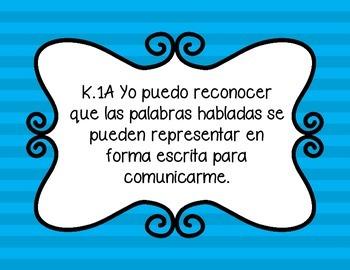 SLAR Kindergarten TEKS in Spanish