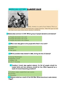 SLAVERY QUIZ for 4th grade