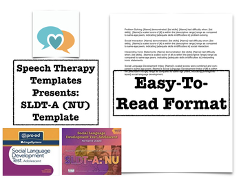 SLDT-A / SLDT-A:NU  Template | Speech Therapy Assessment